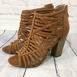 Guess brown faux suede caged stacked heel bootie
